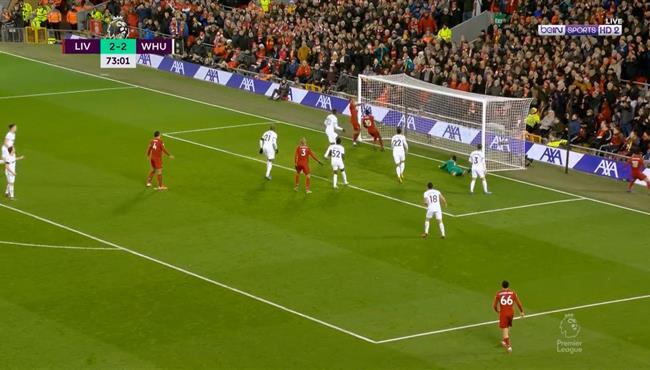 فيرمينو يهدر فرصة هدف امام وست هام بعد تمريرة رائعه من محمد صلاح