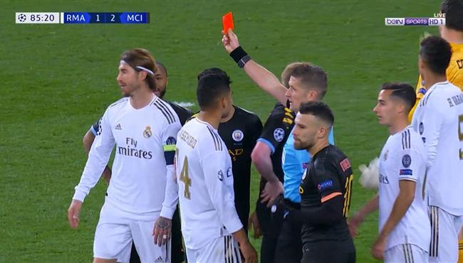 طرد راموس في مباراة ريال مدريد ومانشستر سيتي بدوري ابطال اوروبا