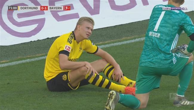 خروج هالاند مصاباً في مباراة بايرن ميونخ ودورتموند