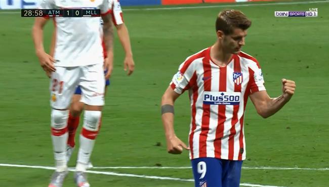 هدف الفارو موراتا الاول في مرمي ريال مايوركا بالدوري الاسباني