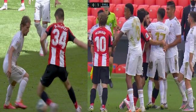 كوبري رائع من مودريتش يتسبب في مشادة بين لاعبي ريال مدريد واتلتيك بلباو