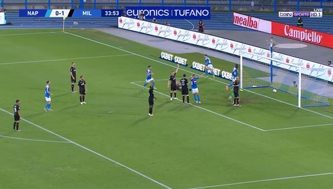هدف تعادل نابولي مع ميلان (1-1) لورينزو