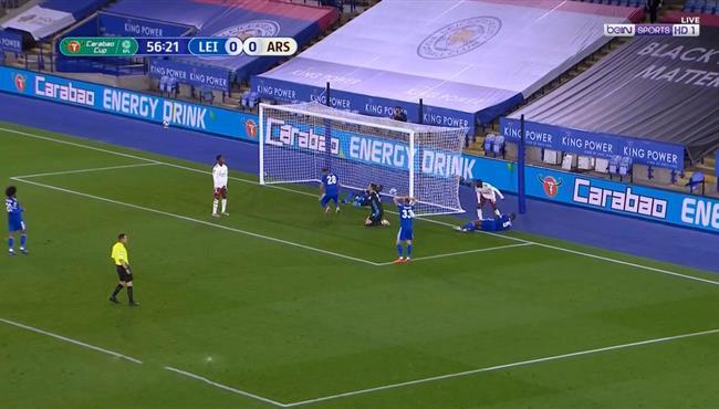 هدف ارسنال الاول فى مرمي ليستر سيتي (1-0) كاس رابطة الدوري الانجليزي