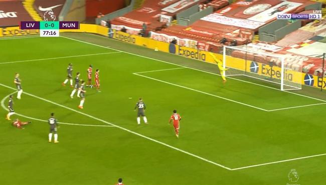 تصدي دي خيا الرائع لصاروخية تياجو الكانتارا في مباراة ليفربول ومانشستر يونايتد