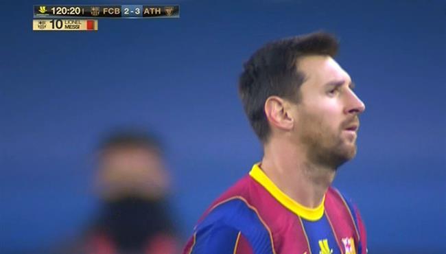 طرد ميسي في مباراة برشلونة واتلتيك بلباو