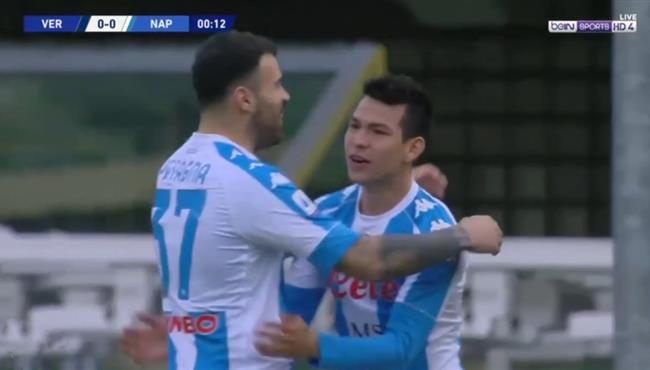 لوزانو يسجل هدف لنابولي امام فيرونا بعد 9 ثواني فقط