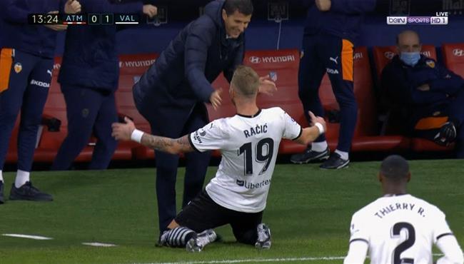 هدف راسيتش الخرافي في مباراة اتلتيكو مدريد وفالنسيا
