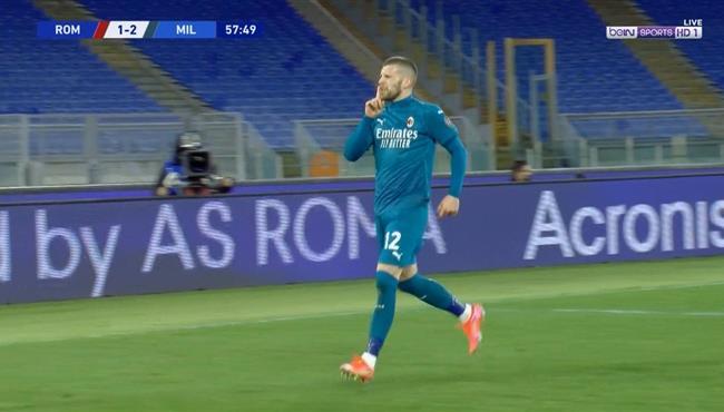 هدف ميلان الثاني في مرمي روما (2-1) الدوري الايطالي