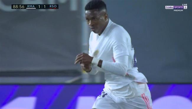 هدف تعادل ريال مدريد القاتل مع ريال سوسيداد (1-1) فينيسيوس جونيور