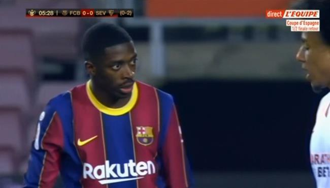 عثمان ديمبلي يهدر فرصة هدف لبرشلونة امام اشبيلية