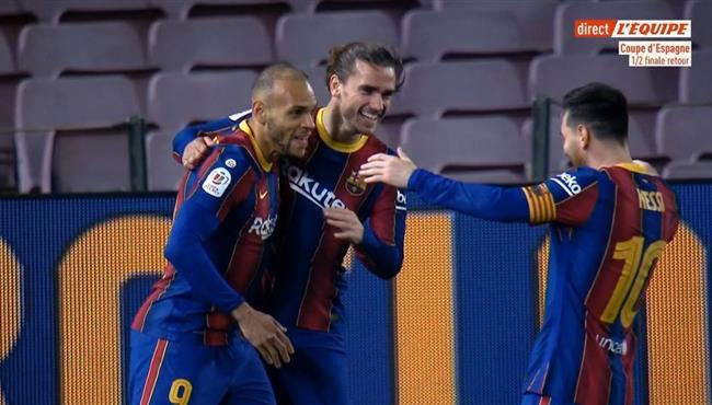 اهداف مباراة برشلونة واشبيلية في نصف نهائي كأس ملك اسبانيا .. مباشر