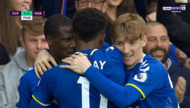 اهداف مباراة ايفرتون ونورويتش سيتي (2-0) الدوري الانجليزي